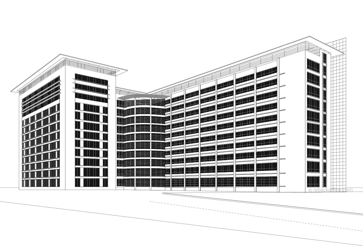 Line Art Building : Rebackoffice renderings building line art