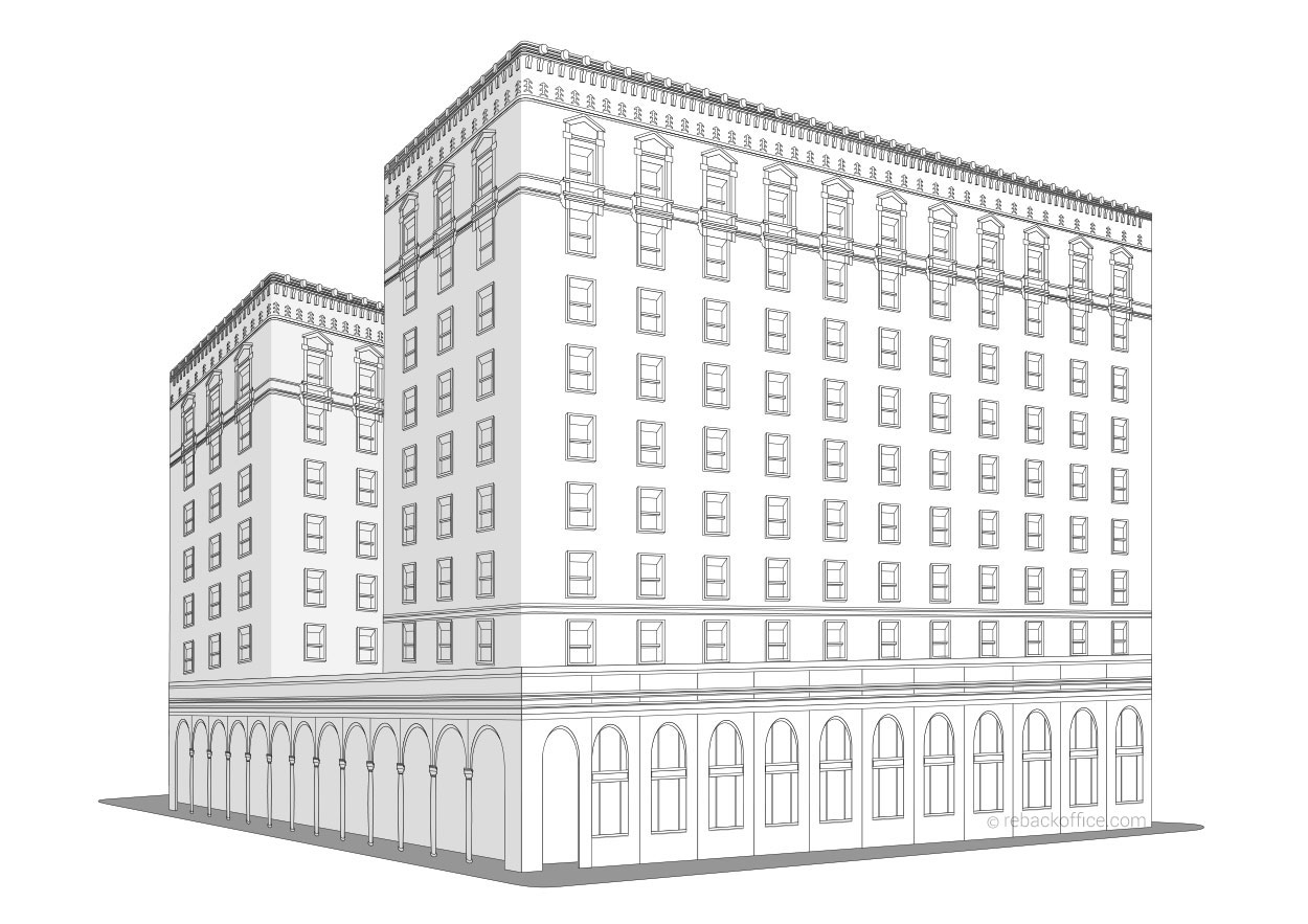 Line Art Building : Rebackoffice building line art renderings example