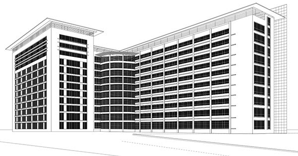 Line Art Building : Rebackoffice renderings building line art